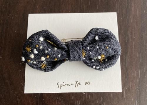 星空刺繍のリボン/ブローチ