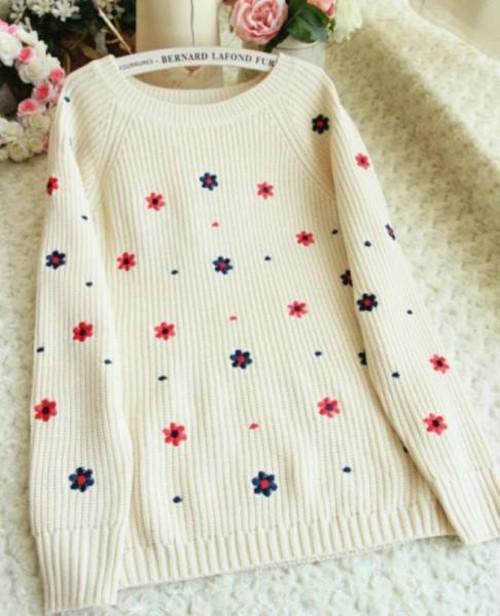 数量限定!花柄♥フラワー刺繍 ざっくりニット セーター♥オフホワイト