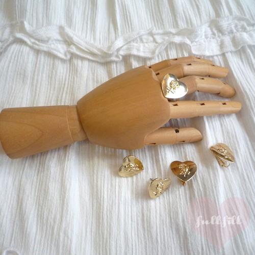 一輪バラのゴールドハート リング 指輪 薔薇