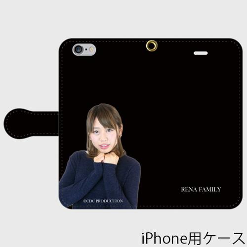れな写真入り手帳型スマホケース / ブラック