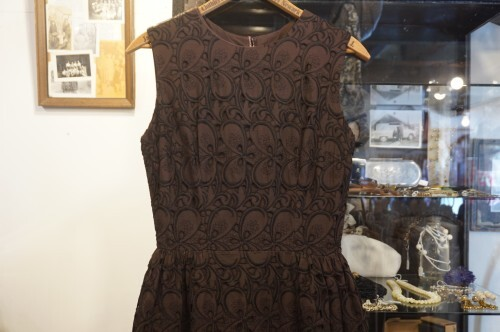 40's brown embroidered double layered Dress