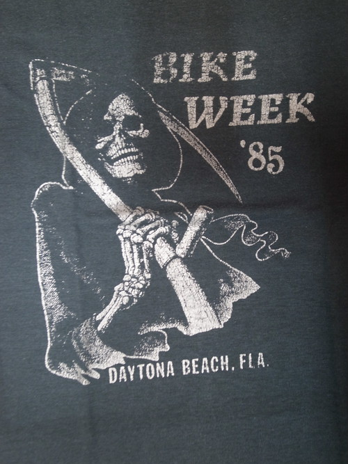 80's RAT'S HOLE Daytona Bike Week 85 Beheading sickle SKULL Harley-Davidson T-Shirts(黒)