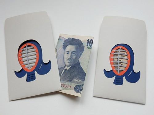 切り絵のぽち袋型メッセージカード  剣道(お礼袋)