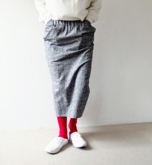 綿麻グレンチェックタイトスカート