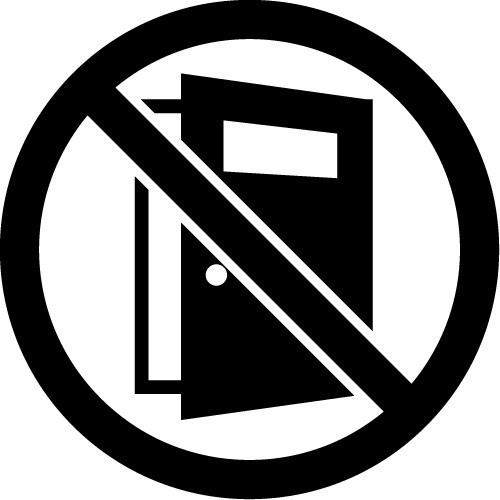 ドアの開放を注意・禁止するマークのカッティングステッカー