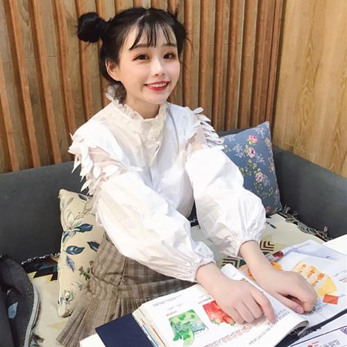 【トップス】日系穗状スタンドネックファッションレースシャツ