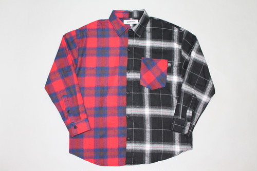 2 TONE  CHECK SHIRTS   - REDxBLK -
