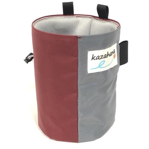 kazahanaチョークバッグ  バーガンディー/グレー