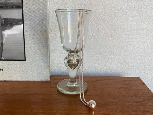 silver ball long necklace