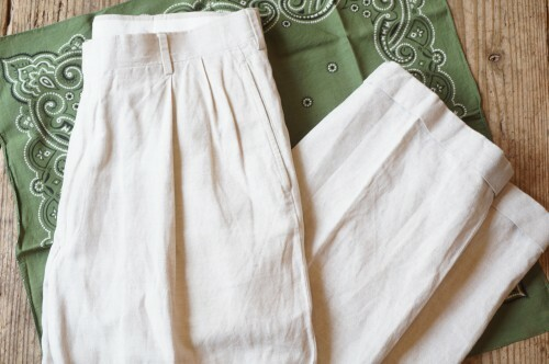 """80's JOS.A.BANK 2-tuck linen Pants """"Made in U.S.A."""""""