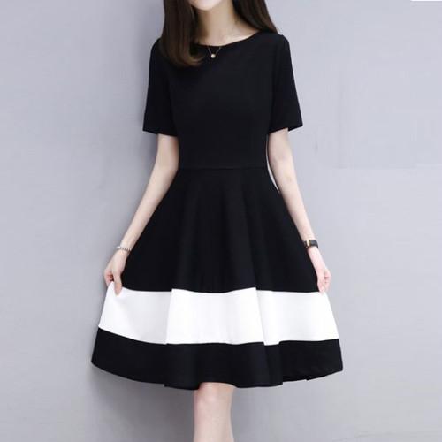 【ワンピース】韓国版ファッションラウンドネック配色ハイウエストワンピース