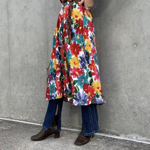 (LOOK) flower print flare skirt