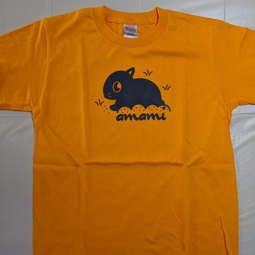 アマミノクロウサギTシャツ(ゴールドイエロー)