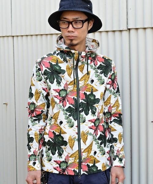 【Four Seasons Garage】花柄マウンテンパーカー(グリーン系)