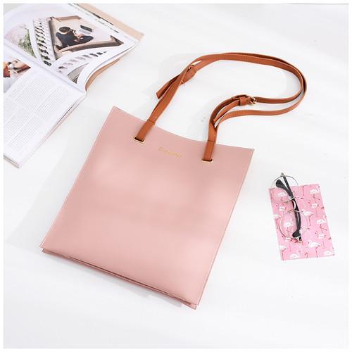 【bag】One-shoulder simple  sweet PU solid color tote bag