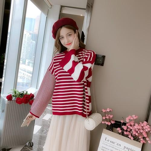 全4色 ニット ゆったり カットソー ボーダー柄 sweet系 フレアスリーブ 韓国風 長袖 トップス カジュアル 5211