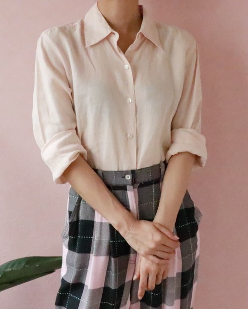 baby pink linen shirts
