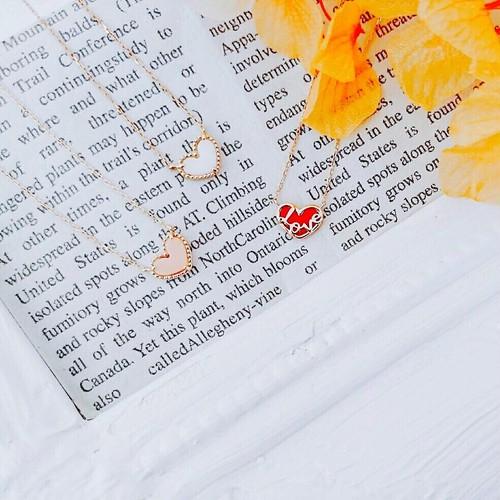 【kiyolakrei】キヨラクレイ リバーシブル ネックレス ハート 血赤珊瑚 K18 83a11nr (CORALIA)