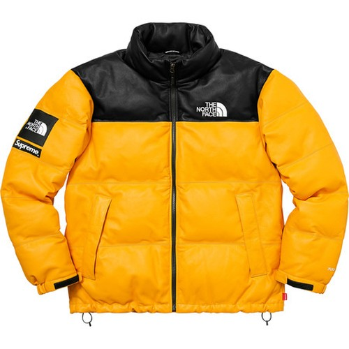 Supreme x The North Face Leather Nuptes Jacket Yellow