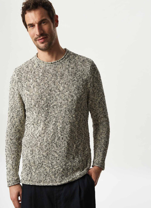 MOTTLED SWEATER WITH ROLL EDGE NECK