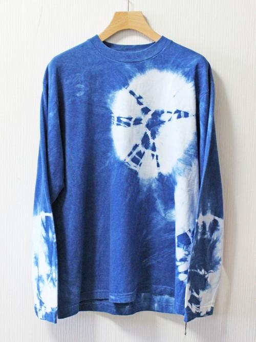 藍染め長袖 綿Tシャツ  L ユニセックス(ANT-32)