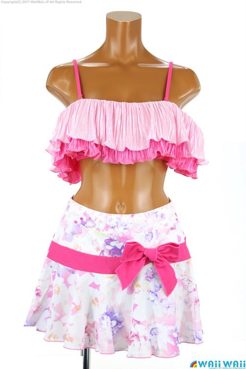 Sweet Flavor - プリーツオフショルダースカート付 3点セット(337080 - 30:ピンク)