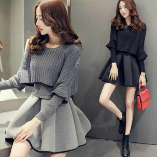 【セットアップ】韓国系人気Aライン無地ショート丈ウエストデザインニットセータースカート2点セット22969651