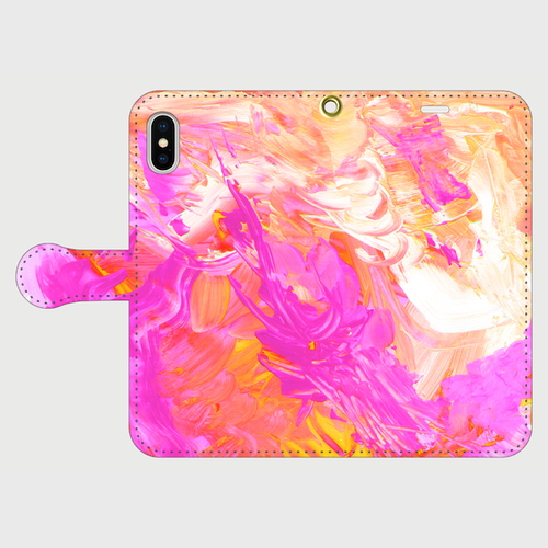 【iPhoneスマホケース手帳型】ryugucastle-acrylicpaint02(オレンジピンク)