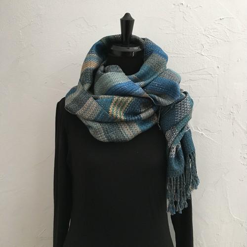 本藍&草木染 手紡ぎ手織り プレミアムコットンストール