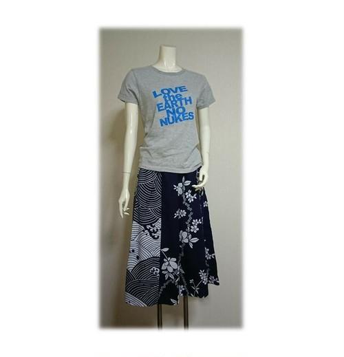 72 履くと可愛い浴衣リメイクキュロットパンツ(花柄浴衣×波の浴衣)