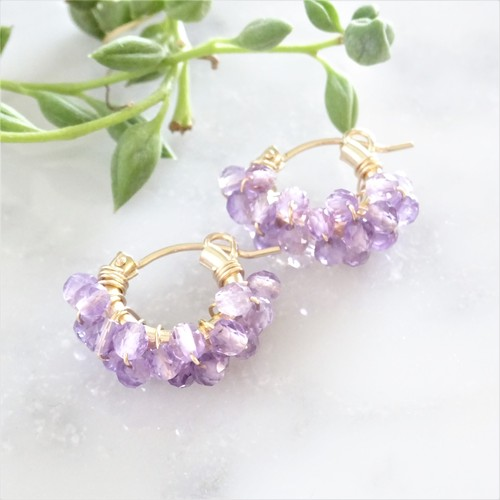送料無料14kgf*Amethyst (light color) pavé pierced earring / earring