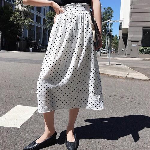 ドットミモレ丈スカート ホワイト