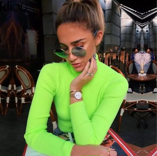 【送料無料】一部即納 グリーン タートルネック tシャツ ライムグリーン 蛍光 トップス レトロ シンプル ハイネック 長袖