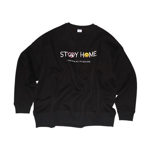 "HOPELESS ""STAY HOME"" Slogan Sweatshirts  BLACK"