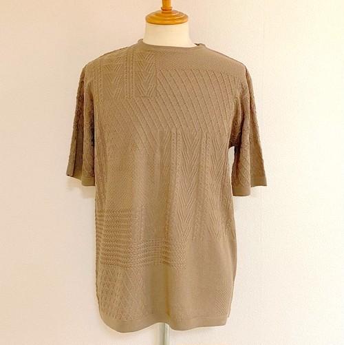 Crazy Pattern Short Sleeve Knit Beige