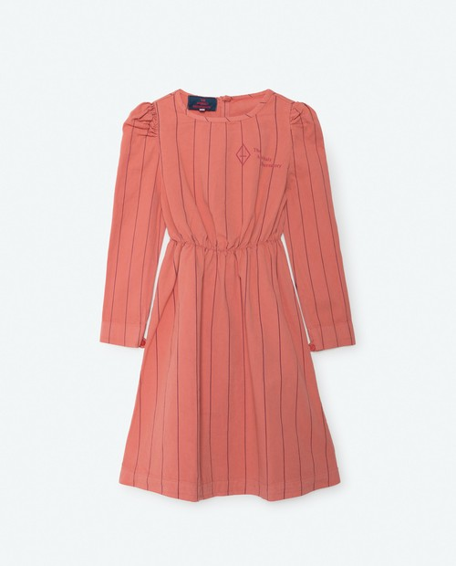 《THE ANIMALS OBSERVATORY 2016AW》DOLPHIN KIDS DRESS / Deep Orange Stripes / 4Y