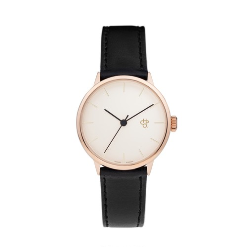 KHORSHID MINI ROSE【CHPO】 Rose gold dial. Black vegan leather strap