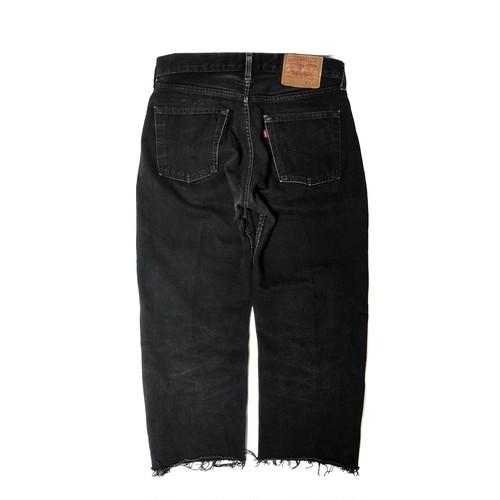 "90's ""EURO LEVI'S / 517"" CUT OFF BLACK DENIM PANTS"