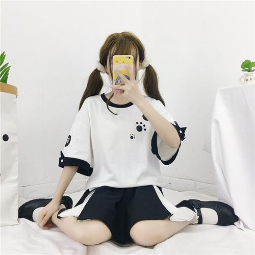 【トップス】学園風キャンパス春夏リボンプルオーバー半袖Tシャツ