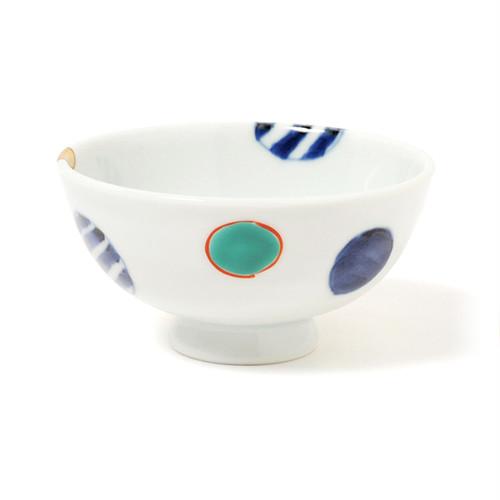 染錦地紋丸紋 ご飯茶碗(小)