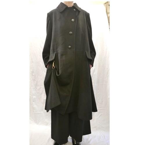 HERMES Cashmere Coat -Black- Rare!-