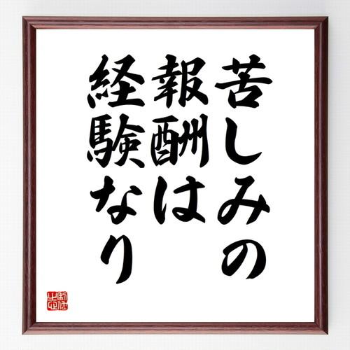 名言色紙『苦しみの報酬は経験なり』額付き/受注後直筆/Z0118