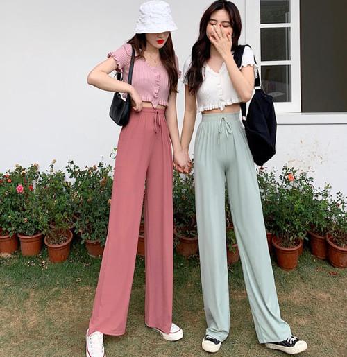 4色 ワイドパンツ イージーパンツ ハイウエスト ウエストゴム ゆったり カジュアル 大人可愛い 韓国 オルチャン ファッション