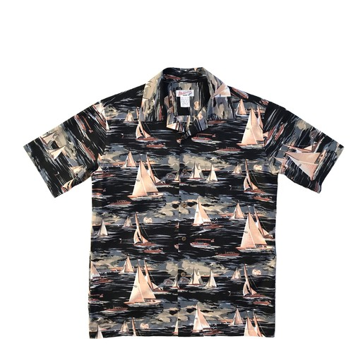 Mountain オープンアロハシャツ / Sailboat Black  size S