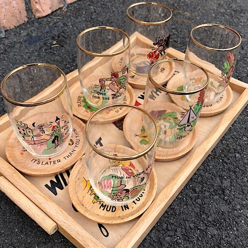 1960s Glass and Coaster 6pieces Set Made In France
