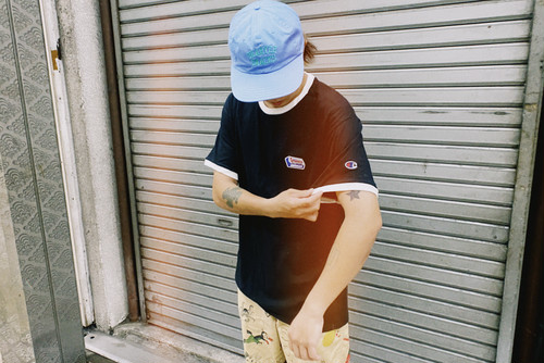 Chocolate One point Tee【Black / Water】