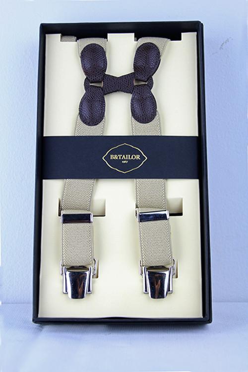 B&Tailor Suspender -White/Grey サスペンダー