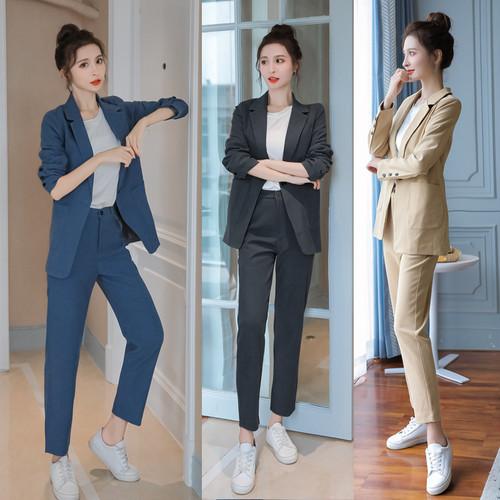 パンツスーツ 3色 S~XL スーツ セットアップ レディースセットアップ ジャケット ミドル丈 長袖 パンツ おしゃれ きれいめ 大人カッコいい スタイリッシュ デイリー お出かけ オフィス 春新作 HI-2002-0003022