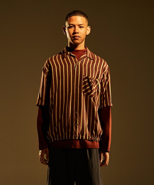 Gather SS Shirt -wine stripe <LSD-BJ1S3>
