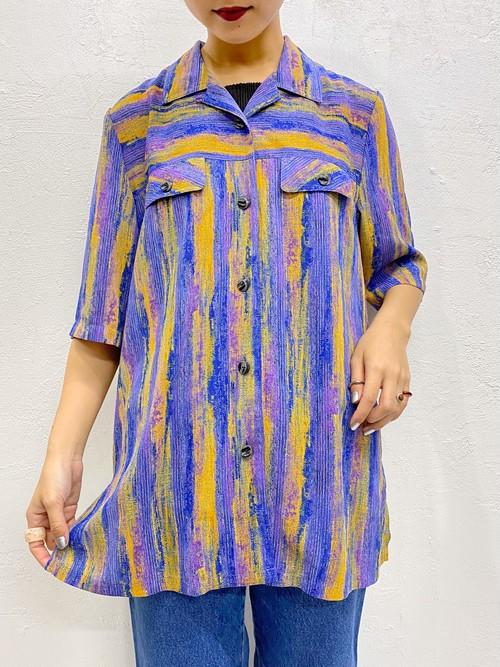 (TOYO) stripe pattern s/s shirt